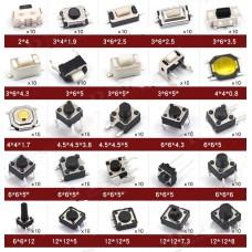 Set 250pc 25 Tipos de Pulsadores Botones Táctiles