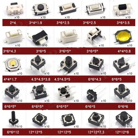 Set 250pcs 25 Types Tactile Push Buttons