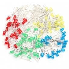 Pack 100 Led 3mm dip, Colores, 5 colores , 20 de cada color,blanco,rojo,verde,azul y amarillo