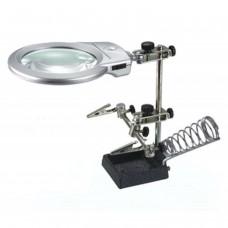 16129A Soporte con lupa  especial manos libres para electronica y Hobby + soporte soldador + luz le