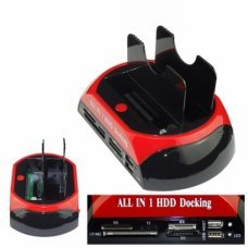 BASE DOCK DOBLE PARA DISCOS DUROS HDD IDE/SATA 2,5 3,5 A USB 2.0 CAJA EXTERNA HUB LECTOR TARJETAS