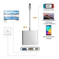 3en1 USB 3.1 Tipo C USB-C a HUB hembra 4K HDMI Cable adaptador de carga de datos HDMI