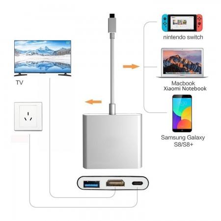 3en1 USB 3.1 Tipo C USB-C a HUB hembra 4K HDMI Cable adaptador de carga de datos HDMI NINTENDO SWITCH  9.00 euro - satkit
