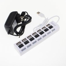 7 Port High Speed USB 2.0 Hub with Power Adapter And Individual Power Switches, Blue LED Indicator