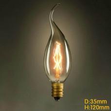 C35 Vertical E14 Filament Light Bulb 40W Edison Vintage Decorative Industrial