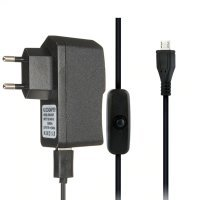 Micro USB Charger Power Adapter 5V 2.5A 2500mA with Cable with Switch for Raspberry Pi 1/2/3 Model B / B plus