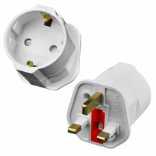 European 2 Pin to UK 3 Pin Plug Adaptor Euro EU Schuko Travel Mains Adapter UK