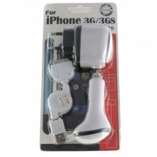 Pack  3 en 1 cargadores para Apple  iPod/iTouch/iPhone/3G [cargador de red+cargador coche+cable USB]