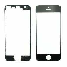 Glass Black Replacement Front Outer Screen For Iphone 5 + adhesive bezzel