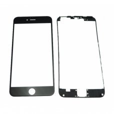 Glass BLACK Replacement Front Outer Screen For Iphone 6plus + adhesive bezzel