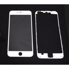 Glass WHITE Replacement Front Outer Screen For Iphone 6plus + adhesive bezzel