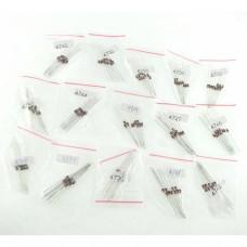 Pack 150 Diodos - 15 modelos diferentes, 10 de cada modelo 1N4727,1N4728,1N4729,1N4730,1N4732,1N4733