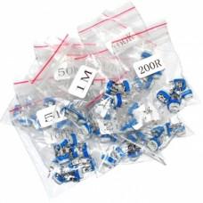 Pack 65 potenciometros lineal DIP, 13 valores diferentes, 5 de cada valor de 100 ohm  a 1 Mohm