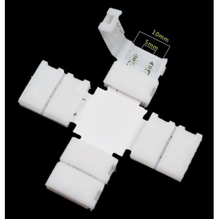 LED Strip Light Straight Clip Connectors X-shape 10mm 2Pin 5050 RGB Solderless