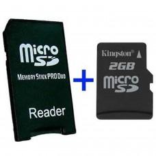 MS Pro Duo Adapter + MicroSD 2GB