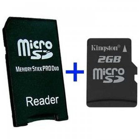 MS Pro Duo Adapter + MicroSD 2GB MEMORY STICK AND HD PSP 3000  4.50 euro - satkit