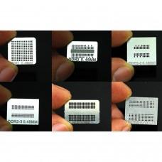 Pack 6 stencils reballing para chips memoria DDR,  DDR2, DDR2-2, DDR2-3, DDR3, GDDR5
