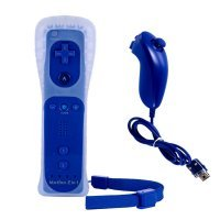 Pack Mando Wii Remote Motion Plus + Nunchuck Compatible Wii Color AZUL