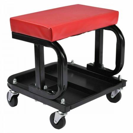 Rolling Creeper Seat Stool Mechanic Chair 4 Wheels Tray Tools Auto Repair