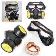 Máscara Respiración Doble Cartucho con Gafas Kit Pintura Anti Gases