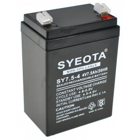 Rechargeable Lead Battery SY7.5-4 4V7.5Ah/20HR Alarms, Scales, Toys