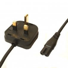 C5 Cloverleaf To UK Mains Power Cable BLACK - 1.8 Mtrs